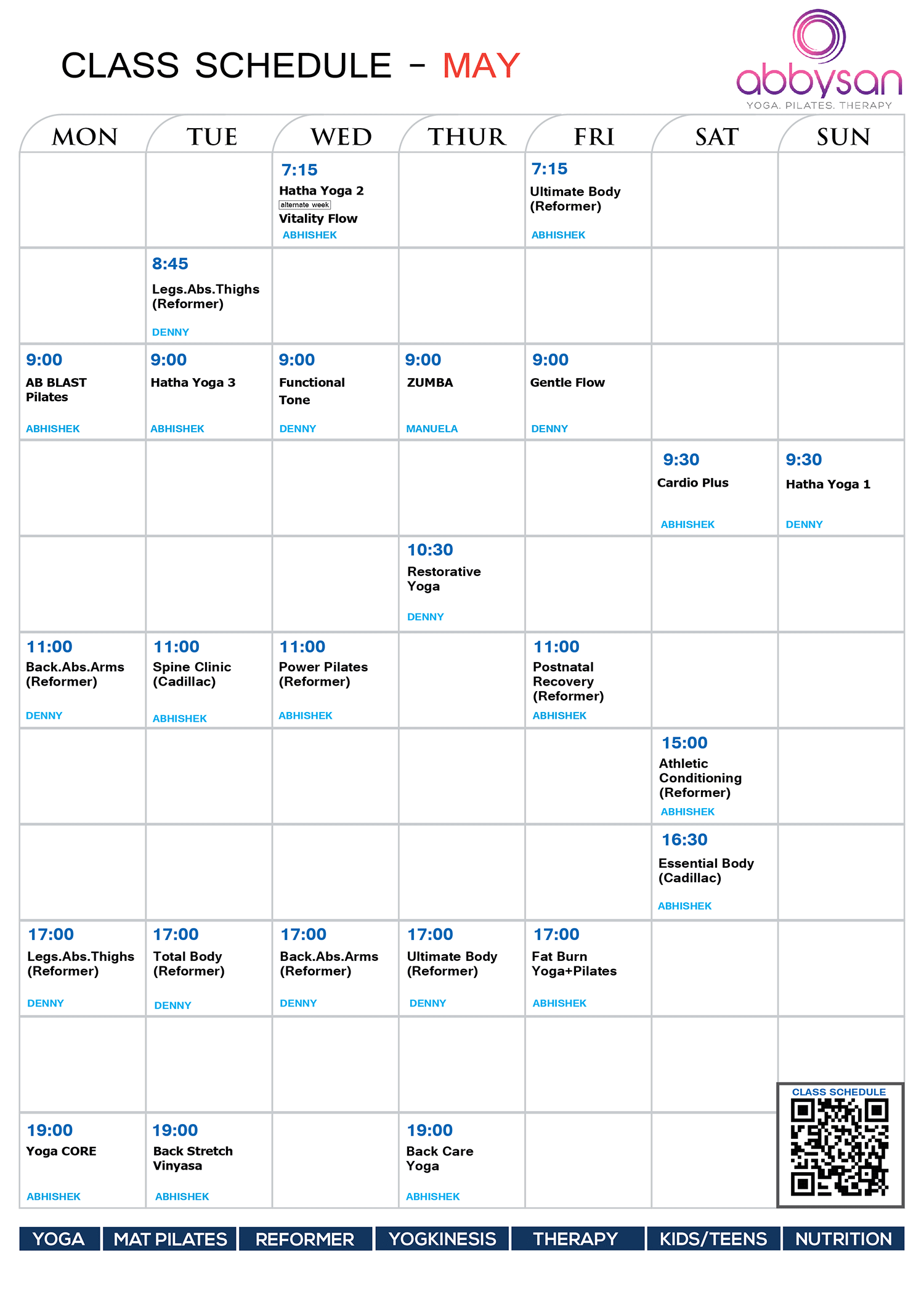 May Schedule 2019