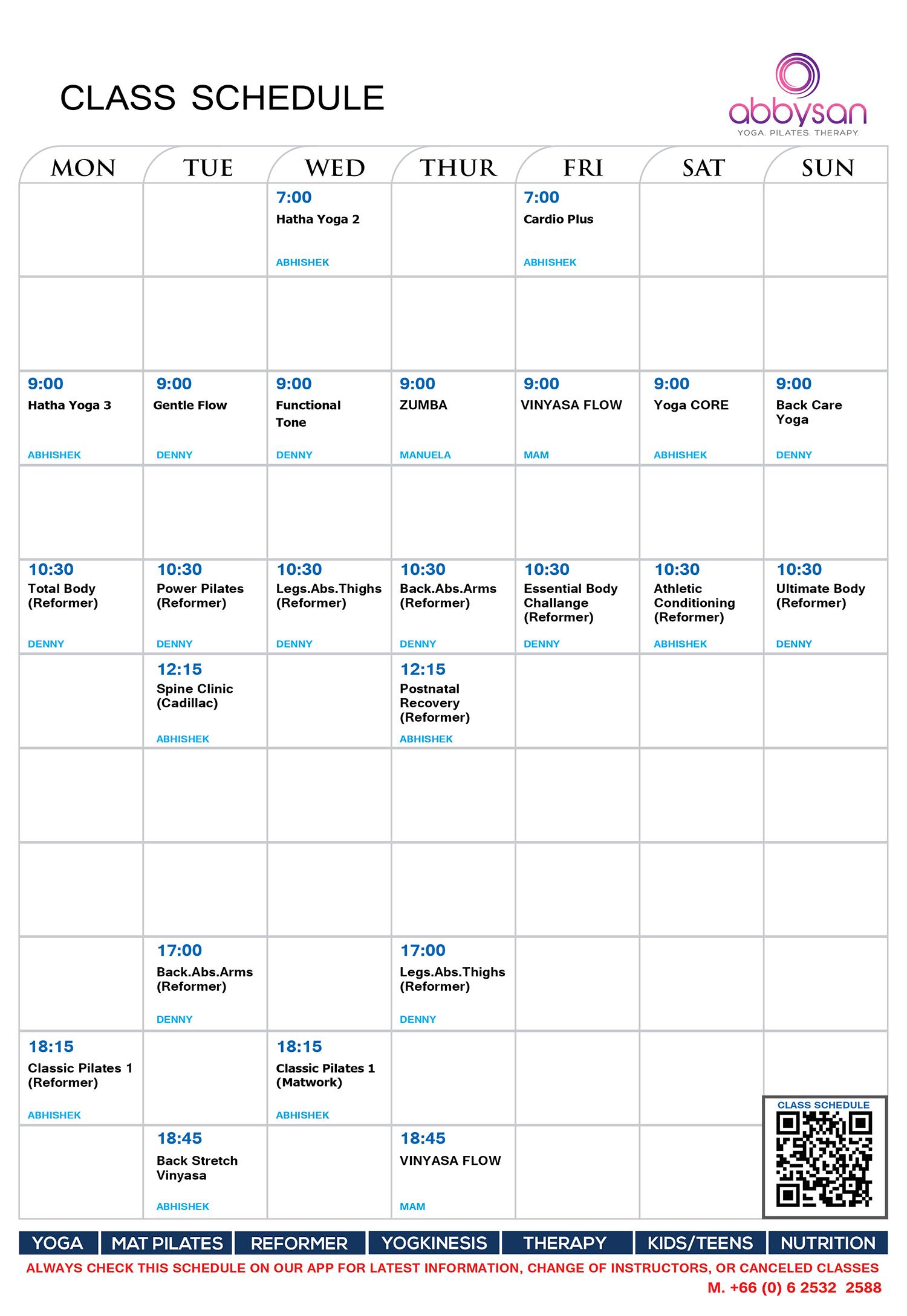 Class Schedule - Abbsyan 2019